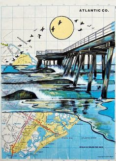 Custom Order Original Map Artwork - Your favorite location or idea on a Map Map Quilt, Map Artwork, Map Painting, High School Art, Middle School, A Level Art, Gcse Art, Surf Art, Album Photo