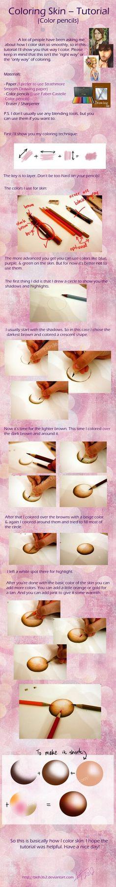 Coloring Skin (Color pencils tutorial) by *BKLH362 on deviantART