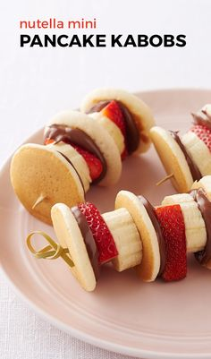 Nutella Mini Pancake Kabobs. Soft and pillowy pancakes slathered with Nutella…