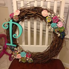 Monogrammed spring wreath  with a P!~