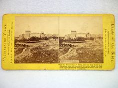 Antique Stereo Card of Baalbek Roman Ruins - 1800s Stereograph Photography - Heliopolis Lebanon