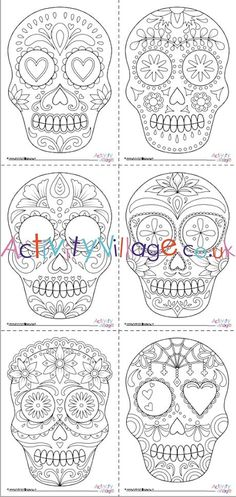We've got a set of six beautifully illustrated Day of the Dead Calaveras (sugar skulls) for you to print and colour in. Choose your favourites, or colour them all, then display as Day of the Dead decorations. Hocus Pocus Halloween Costumes, Halloween Labels, Homemade Halloween Costumes, Halloween Skull, Vintage Halloween, Halloween Crafts, Group Halloween, Vintage Holiday, Halloween Pumpkins