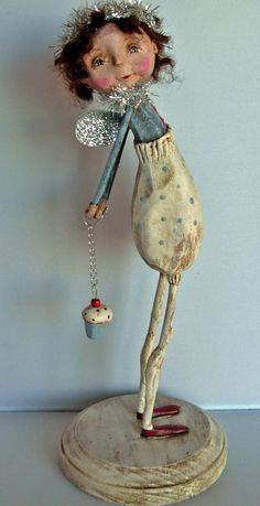>BOY HOWDIE PAPIER MACHE FOLK ART by Dawn Tubbs, Folk Art Cupcake Angel Doll