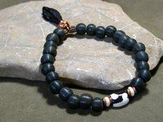 Mens Bracelet - Beaded Bracelet - Mans Jewelry - Tribal Bracelet - African Bead - Feather Charm