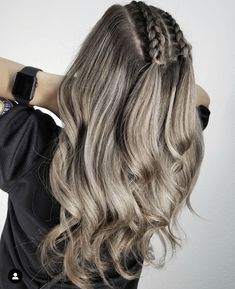 Everything balayage on top braided beauty by beautybyshorty balayagist braids blonde balayage edgy braid hairstyles updo ghanabraids Hairstyles With Curled Hair, Cute Hairstyles For Teens, Cool Braid Hairstyles, Braids For Long Hair, Braids Blonde, Curly Hair, Thin Hair, Braids And Curls, Long Hairstyles