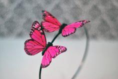 Butterfly Headband - Spring Headband - Butterfly Costume - Pink Monarch Butterflies - Wedding Accessory