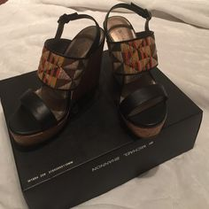 ☀️☀️ SALE ☀️☀️Brand New Michael Shannon Wedges Cute spring/summer wedge in black with print. Never worn. Size 7 Michael Shannon Shoes Wedges