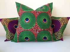 "African Print Pillow Cover - Home Decor - euro sham- Decorative Pillow Cover - Couch Pillow - Throw Pillow - Bespoke - 22"" x 22"""