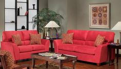 Rose Hill Furniture Soft Suede Red Loveseat - 1810-02(5195-25), Price: $435.00