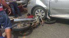 Acidente deixa motociclista ferido na Av. Coronel Domiciano em Muriaé