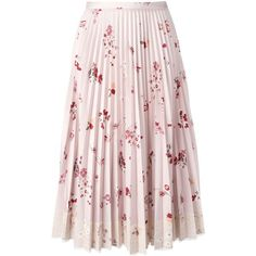 Red Valentino floral print pleated skirt with lace fringe (11.300 ARS) ❤ liked on Polyvore featuring skirts, knee length pleated skirt, floral pleated skirt, red valentino skirt, pink skirt and pink lace skirt