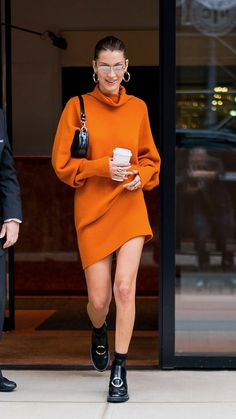 Bella Hadid Wears the Sweaterdress for Fall in New York City