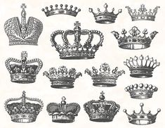 Digital Crown Clip Art Digital Heraldic Clip Art Hand Drawn Vintage Crown Clipart Digital Antique Crown and Heraldic Clipart 0126