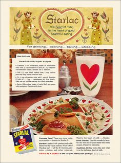 Pancake Fans!  There's nothing like canned peas and ham chunks in Campbell's Cream Of Mushroom Soup rolled up in your pancakes for a special treat!  (Starlac Milk, 1958)