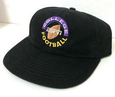 new style 91cb1 96f3c rare vtg 90s ESPN COLLEGE FOOTBALL HAT black LOW PROFILE CROWN men women  NWT  ESPN  BaseballCap