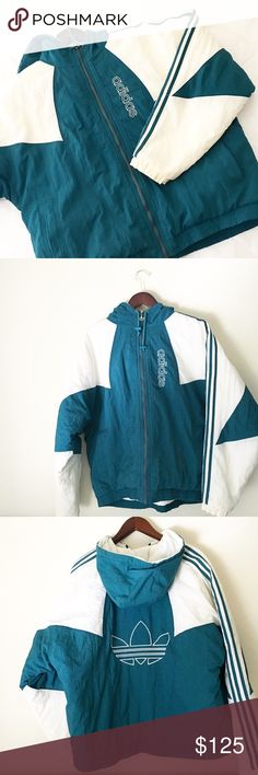 Vintage Adidas Bomber Jacket Sz L Vintage puffer jacket with a large Adidas logo on the back from the 80s. Unique and very hard to find. Men's jacket. Green and white. Used many times and washed many times but still in good condition. No rips or stains. Signs of wear though, but nothing flawless with vintage. Adidas Jackets & Coats Puffers