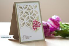 Stampin' Up! ... handcrafted card : Oh happy day! – Grußkarte ... luv the use of the trellis die to cut negative space and then popped up on card front ...