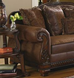 Traditional Living Room Fabric And Wood Trim Curved Sofa | BRADY - TRADITIONAL WOOD TRIM & CHENILLE FABRIC SOFA SET LIVING ROOM ...