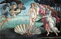 'The Birth of Venus' - Botticelli (1486) - Venus, the Goddess of Love, stands like a statue on a sea shell, while the goddess of the season waits with a flower print blanket. All the connotations of nature relate to the purity and beauty of this work.