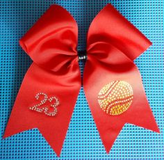 Personalized Red Softball Bow by HairySituation on Etsy, $10.00