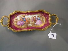 SEVRES STYLE PORCELAIN TRAY with Colonial  Scene