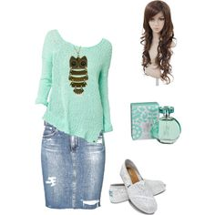 Don't like the skirt and don't get the creepy wig, but the shirt is my favorite color and I have that necklace!