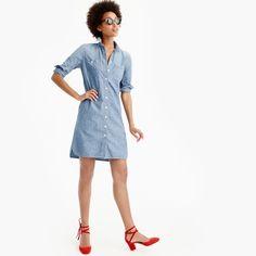 Long-sleeve chambray shirtdress | J Crew