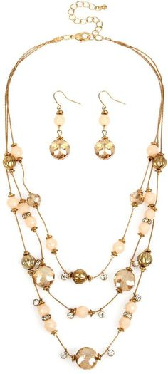 Mixit Mixit Multicolor Pastel Beads 3-Row Illusion Necklace and Earring Set 1TCI2MwF8z