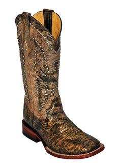 Ferrini Ladies Gold Phoenix Metallic S-Toe Cowboy Boots
