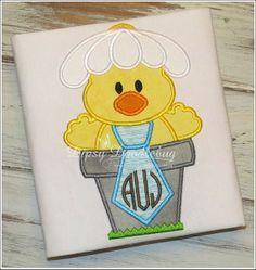 Monogrammed Easter Chick in Flowerpot Boys Shirt by DipsyDoodlebug, $24.00