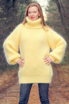 Yello hand knit mohair sweater ribbed turtleneck fuzzy thick jumper SUPERTANYA #SuperTanya #Knitted