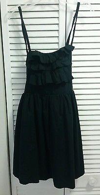 American Rag Cie Black Babydoll Short Dress Ruffles Cotton Spaghetti LBD S