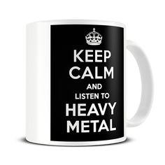 MG041 Magoo Keep Calm and Listen to Heavy Metal Coffee Mug – gift for heavy metal fan