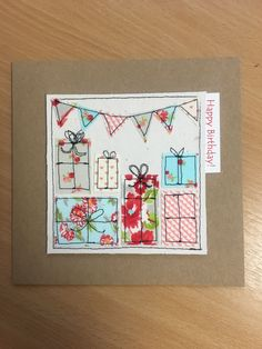 Hand made machine sewn presents birthday card made from Moda fabrics – Birthday Presents Fabric Cards, Fabric Postcards, Embroidery Cards, Free Motion Embroidery, Homemade Christmas Cards, Homemade Cards, Handmade Birthday Cards, Happy Birthday Cards, Kirigami