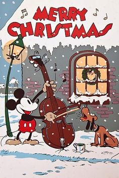Merry Christmas from Mickey & Pluto! - (vintage Christmas, days gone by, retro yesteryear, holiday, illustration) Mickey Christmas, Old Christmas, Old Fashioned Christmas, Vintage Christmas Cards, Retro Christmas, Vintage Holiday, Christmas Pictures, Christmas Greetings, Vintage Cards