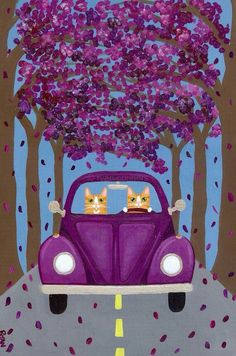 Volkswagen Road Trip Cats Folk Art By KilkennyCatArt I Love Cats, Crazy Cats, Cool Cats, Volkswagen, Cat Cards, Here Kitty Kitty, Cat Drawing, Illustrations, Cats And Kittens