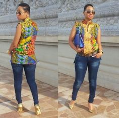 14 Trendy Ankara Tops And Jeans For Curvy Ladies - AfroCosmopolitan African Fashion Designers, African Inspired Fashion, African Print Fashion, Africa Fashion, African Blouses, African Tops, African Women, African Print Dresses, African Fashion Dresses