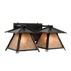 Steel Partners Sticks Cascade 2 Light Outdoor Wall Lantern Shade Color: Slag Glass Pretended, Finish: Black