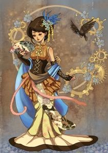from Fragile Whispers on Deviant Art~ I would like a tattoo like this----steampunk geisha