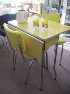 Retro Kitchen Table and Chair Lovely 1950 formica Table and Chairs Yellow Kitchen Tables, Retro Kitchen Tables, Yellow Table, 1950s Kitchen, Retro Dining Table, Kitchen Chairs, Dining Room Sets, Dining Table Chairs, Dining Area