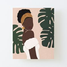 'Black Woman Monstera leaves Tropical' Canvas Mounted Print by Easy Canvas Art, Simple Canvas Paintings, Small Canvas Art, Canvas Wall Art, Black Canvas, Black Art Painting, Minimalist Art, African Art, Watercolor Art