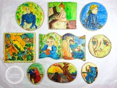 My cookie adaptation of Vincent Van Gogh's paintings. But of course, my cookie paintings are verrrryyyy farrrrrrrr from his expertise and nowhere near the painting strokes that he usually does. I just did this for fun and for a bit of challenge on how to paint on cookies.