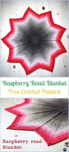 Crochet Raspberry Road Blanket Free Pattern-Crochet Circle Blanket Free Patterns - 9 point instead of 12 and worked withb a 3.5mm hook.