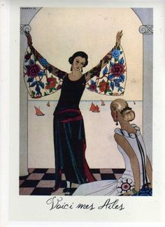 Shoply.com -Framed Print - Art-Deco - Lady with Winged sleeves A4. Only £4.99