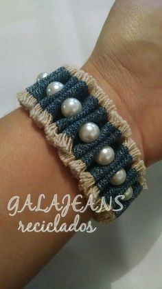 jeans bracelet with pearls and cylindrical rubber band - bisuteria de j . - Recycled jeans bracelet with pearls and cylindrical elastic band – bisuteria de jeans – Bis -Recycled jeans bracelet with pearls and cylindrical rubber band - bisu. Denim Bracelet, Denim Earrings, Fabric Bracelets, Fabric Jewelry, Diy Jewelry Rings, Diy Jewelry Unique, Jewelry Crafts, Handmade Jewelry, Jewelry Making