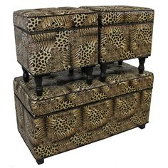 This 3-piece animal-print ottoman set is sure to add an exotic touch to any room. Its simulated leather and thick cushion details add style and comfort to this design, while the sturdy construction and hinged lid details improve usability.
