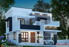 4 Bedroom True Flat Roof Contemporary House Kerala Home Design And Floor Plans Single Floor House Design, House Roof Design, Two Story House Design, Flat Roof House, 2 Storey House Design, Simple House Design, Bungalow House Design, House Design Photos, Two Storey House Plans