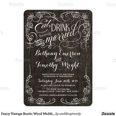 "Fancy Vintage Rustic Wood Wedding Invitations 5"" X 7"" Invitation Card"