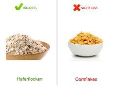 Iss dies, nicht das zum Frühstück | eatsmarter.de Wir Deutschen frühstücken besonders am Wochenende ausgiebig, lang und teilweise sehr nahrhaft. Marmelade, Croissant, Cornflakes usw. Einige Kalorienfallen lassen sich aber durch einfaches Ersetzen der Produkte vermeiden. Um welche Produkte es sich dabei handelt zeigen wir Ihnen.