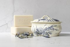 French Ironstone Soap Dish...Bluebird Decoration...Transferware.